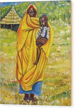 Sudanese Mother And Child Wood Print by George Chacon
