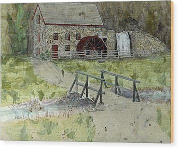 Wood Print featuring the painting Sudbury Gristmill by Lynn Babineau