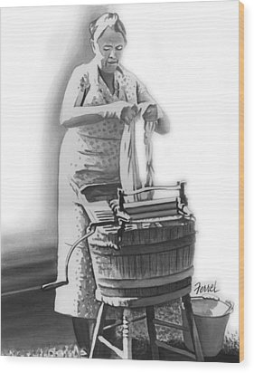 Wood Print featuring the painting Suds In The Bucket by Ferrel Cordle