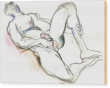 Wood Print featuring the mixed media Suffering Is Optional - Male Nude  by Carolyn Weltman