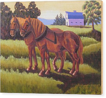 Suffolk Punch Day Is Done Wood Print