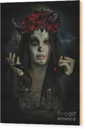 Wood Print featuring the digital art Sugar Doll Magic by Shanina Conway