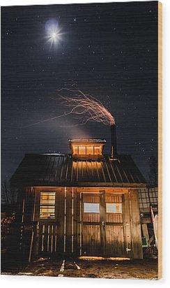 Sugar House At Night Wood Print by Tim Kirchoff