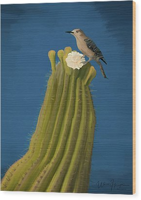 Sugaro Cactus And Cactus Wren Wood Print by Wally Hampton