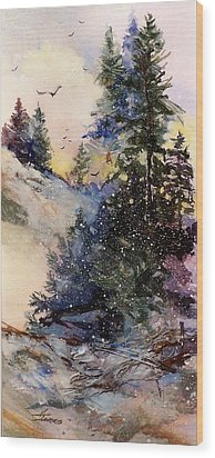 Wood Print featuring the painting Sugarpines by Helen Harris