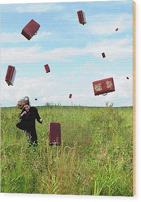 Suitcase Rain Wood Print by Roman Rodionov