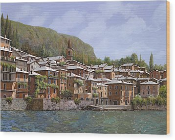Sul Lago Di Como Wood Print by Guido Borelli