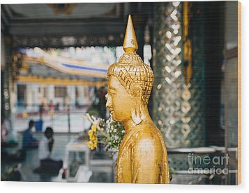 Sule Pagoda Buddha Wood Print by Dean Harte