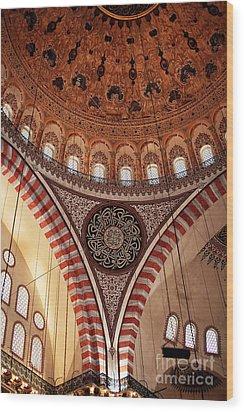 Suleymaniye Interior Wood Print by John Rizzuto