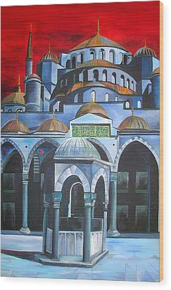 Sultan Ahmed Mosque Istanbul Wood Print by Tracey Harrington-Simpson