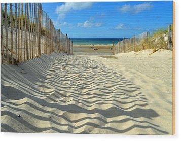 Sultry September Beach Wood Print