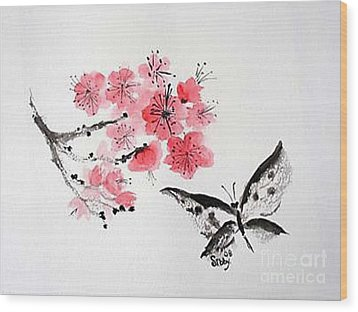 Wood Print featuring the painting Sumi -e Butterfly by Sibby S