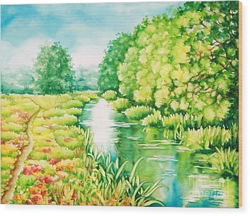 Wood Print featuring the painting Summer Along The Creek by Inese Poga