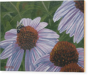 Wood Print featuring the painting Summer Bees I by Robert Decker
