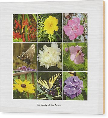 Summer Botanical Collage Wood Print by Margie Avellino