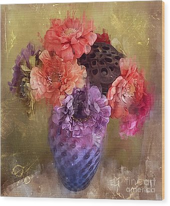 Wood Print featuring the digital art Summer Bouquet by Alexis Rotella