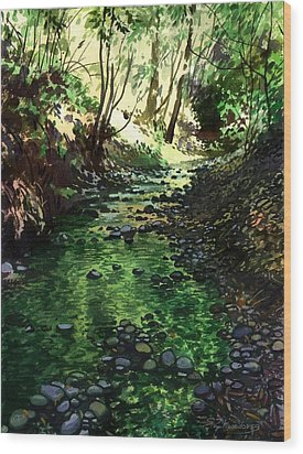 Summer Brook Wood Print