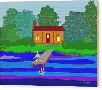Summer Cabin Wood Print by Fred Jinkins