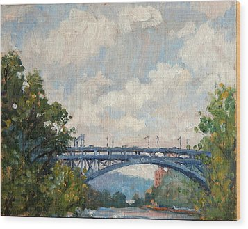 Summer Clouds Henry Hudson Bridge From Inwood Nyc Wood Print by Thor Wickstrom