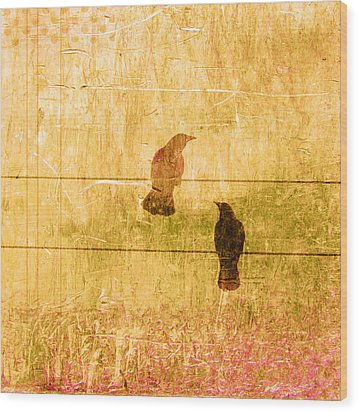Summer Crows Wood Print by Carol Leigh