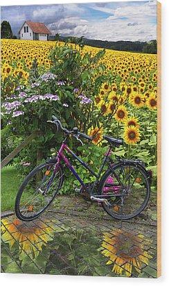 Summer Cycling Wood Print by Debra and Dave Vanderlaan