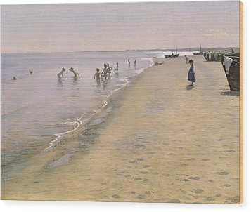 Summer Day At The South Beach Of Skagen Wood Print by Peder Severin Kroyer