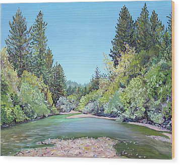 Summer Day On The Gualala River Wood Print by Asha Carolyn Young