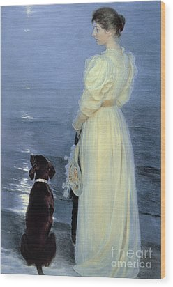 Summer Evening At Skagen Wood Print by Peder Severin Kroyer