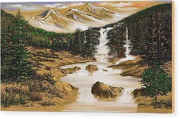 Wood Print featuring the drawing Summer Evening Glow by Anthony Fishburne