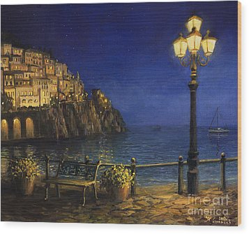 Summer Evening In Amalfi Wood Print by Kiril Stanchev