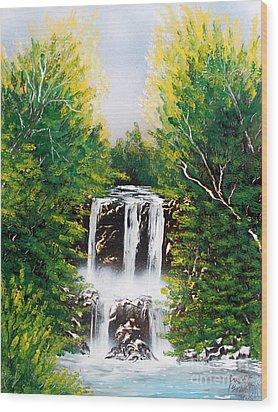 Summer Falls Wood Print by Greg Moores