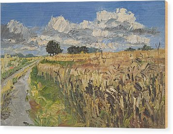 Summer Fields Plein Air Landscape Wood Print
