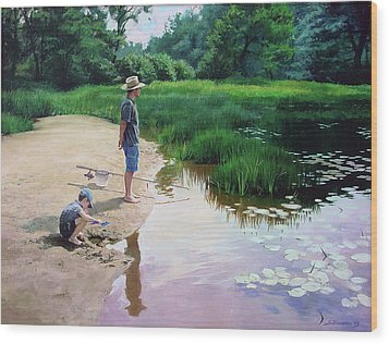 Wood Print featuring the painting Summer Fishing by Sergey Zhiboedov