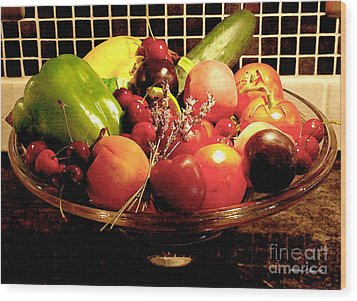 Summer Fruit And Veggies Still Life -- Another Fresh Paintograph Wood Print by Christine S Zipps