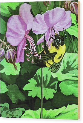 Wood Print featuring the painting Summer Garden Bumblebee And Flowers Nature Painting by Linda Apple