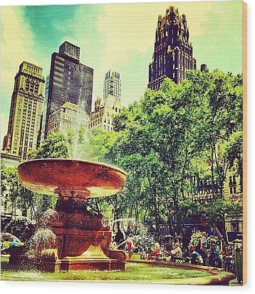 Summer In Bryant Park Wood Print