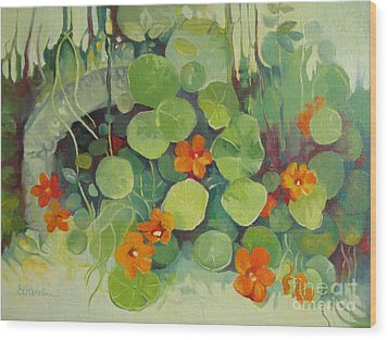 Wood Print featuring the painting Summer In The Garden by Elena Oleniuc