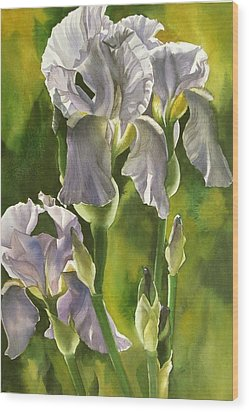 Wood Print featuring the painting Summer Irises by Alfred Ng