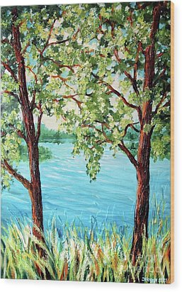 Wood Print featuring the painting Summer Lake View by Inese Poga