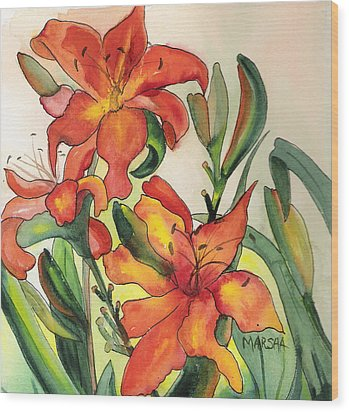 Summer Lilies Wood Print