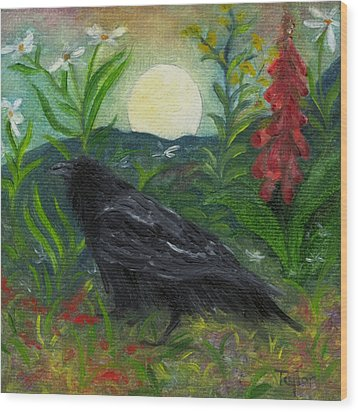 Summer Moon Raven Wood Print by FT McKinstry