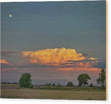 Wood Print featuring the photograph Summer Night Storms Brewing And Moon Above by James BO Insogna