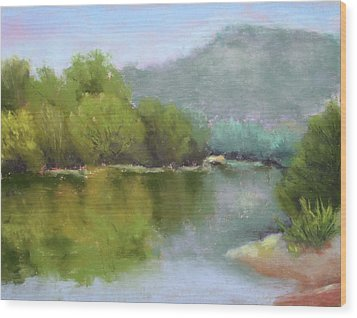 Wood Print featuring the painting Summer On The River by Nancy Jolley