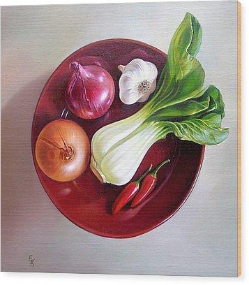 Summer Plate 2 Wood Print by Elena Kolotusha