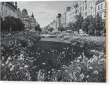 Wood Print featuring the photograph Summer Prague. Black And White by Jenny Rainbow