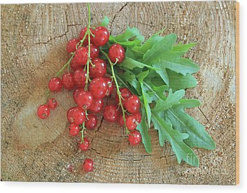 Summer, Red Berries And Rucola On Wooden Board Wood Print