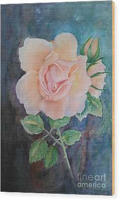 Summer Rose - Painting Wood Print by Veronica Rickard