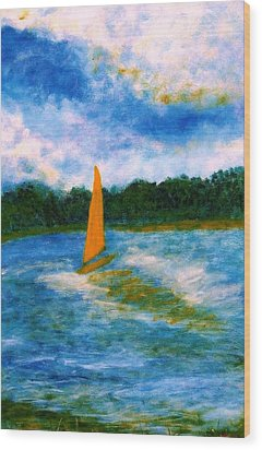 Wood Print featuring the painting Summer Sailing by John Scates