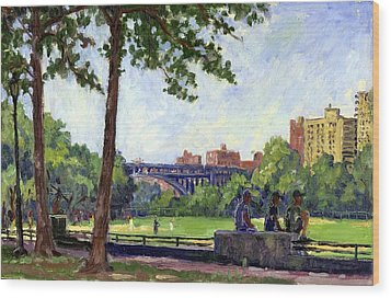 Summer Shade Baseball Fields At Inwood Nyc 8x12 Plein Air Impressionist Oil On Panel Wood Print by Thor Wickstrom