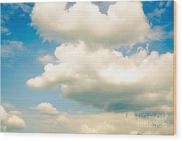 Summer Sky Blue Sky White Clouds Wood Print by Andy Smy